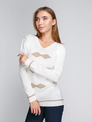 Пуловер белый с ромбами | 5163093