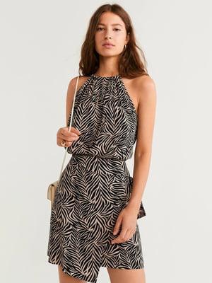 Платье черно-бежевое в принт | 5161040