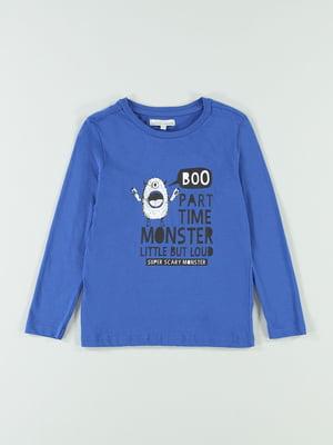 Лонгслив синий с принтом | 5154650