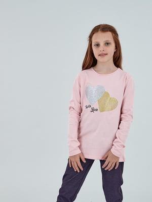 Лонгслів рожевий з принтом | 5154727