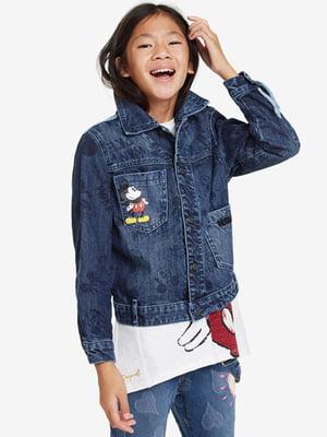 Куртка синяя джинсовая с принтом | 5162899