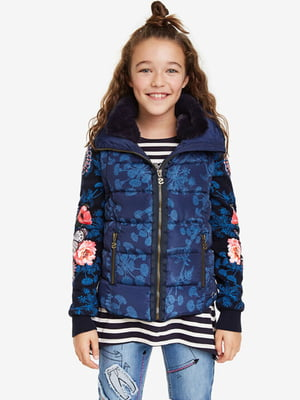 Куртка синяя с цветочным принтом | 5162901