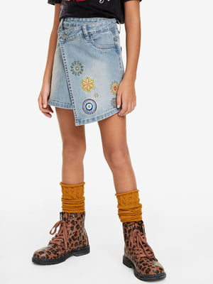 Юбка голубая джинсовая с вышивкой | 5162902