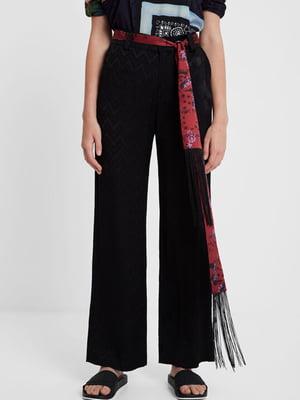 Штани чорні в зигзагоподібну смужку | 5162972