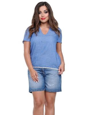 Блуза голубая в полоску | 3778398