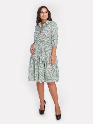 Сукня м'ятного кольору в квітковий принт | 4613348