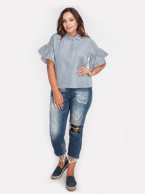 Блуза синяя в полоску | 4627997