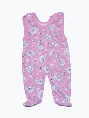 Повзунки рожеві з принтом | 5175700