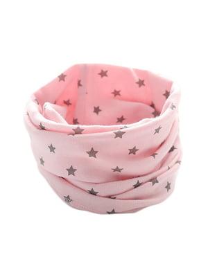 Шарф-снуд розовый с принтом | 5177421