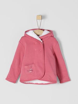 Куртка двостороння рожево-біла | 5177240
