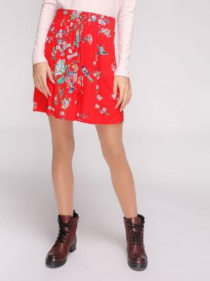 Спідниця червона в квітковий принт | 4556800