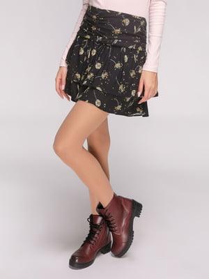 Юбка черная в цветочный принт | 4631081