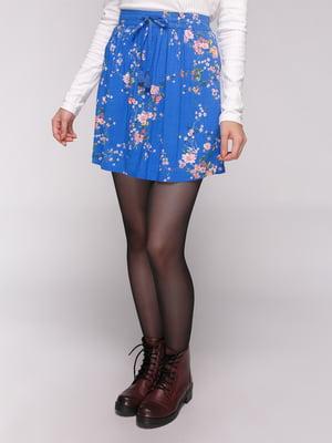 Спідниця синя в квітковий принт | 4556797