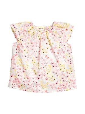 Блуза молочного цвета в цветочный принт | 5163601