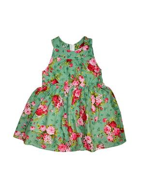 Сарафан зелений у квітковий принт | 5178964
