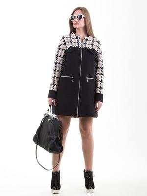 Пальто чорне в гусячу лапку | 5179990