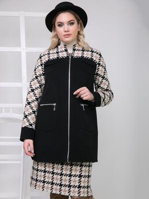 Пальто чорне в гусячу лапку | 5179991