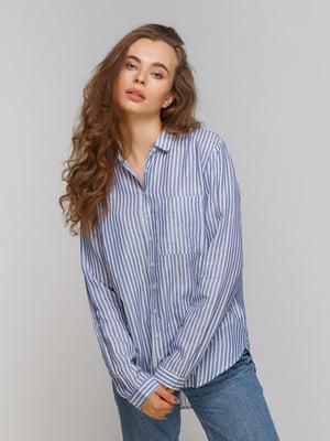 Рубашка голубая в полоску | 4560091