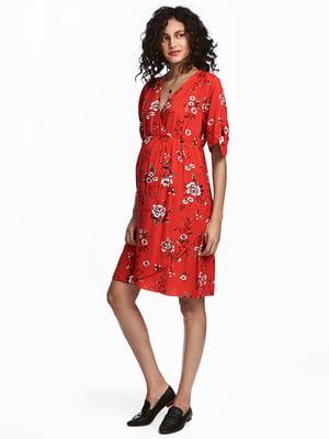 Платье красное в цветочный принт   5185138