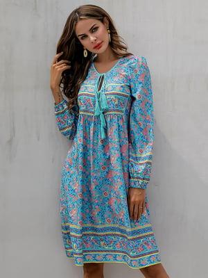Платье голубое в цветочный принт | 5185816