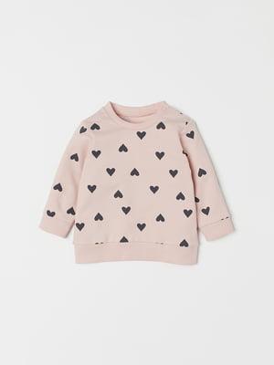 Свитшот розовый в принт | 5186486