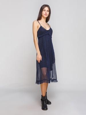 Платье полупрозрачное синее в горох | 4875922
