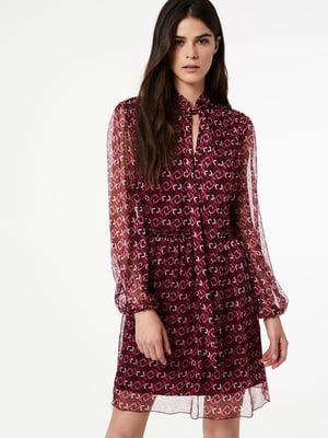 Платье бордовое в принт | 5181277