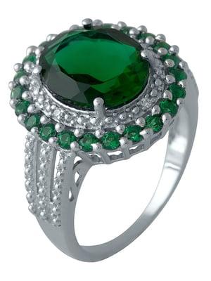 Женское серебряное кольцо с синт. изумрудами и куб. циркониями | 5189318