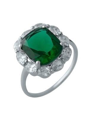 Женское серебряное кольцо с синт. изумрудом и куб. циркониями | 5189577