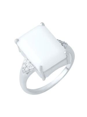 Женское серебряное кольцо с агатом и куб. циркониями | 5189619
