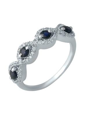 Женское серебряное кольцо с сапфирами и куб. циркониями | 5190717