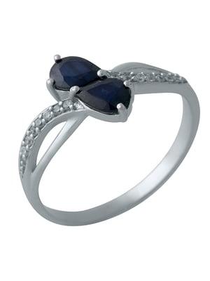 Женское серебряное кольцо с сапфирами и куб. циркониями | 5190869