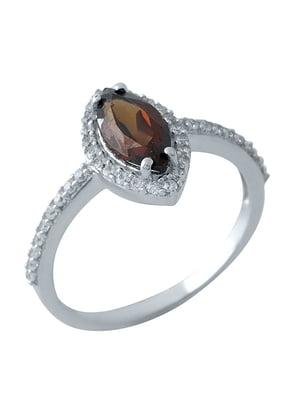 Женское серебряное кольцо с гранатом и куб. циркониями | 5191075