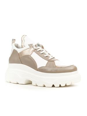 Кроссовки бело-кофейного цвета | 5180975