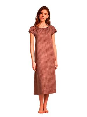 Ночная рубашка коричневая в горошек | 5182991
