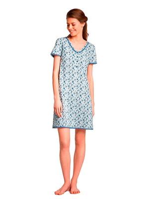 Ночная рубашка голубая в принт | 5192073