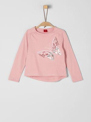 Лонгслив розовый с рисунком | 5196005