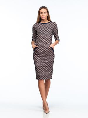 Платье сине-бежевое | 5202047
