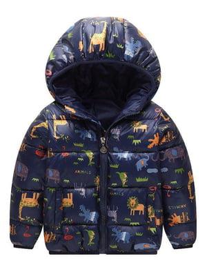 Куртка темно-синяя с принтом | 5202859