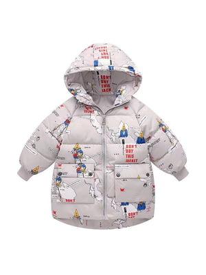 Куртка серая с принтом | 5202851