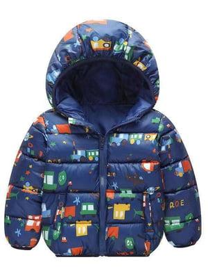 Куртка синяя с принтом | 5202860