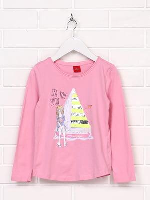 Лонгслив розовый с принтом | 5196011