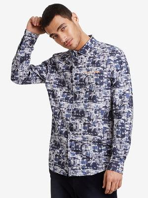 Рубашка синяя в принт   5196444