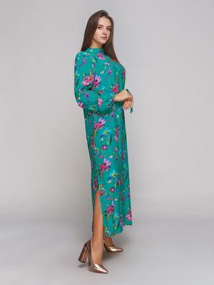 Платье зеленое в принт | 3956996