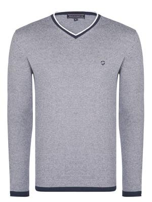 Пуловер синій в смужку | 4403700
