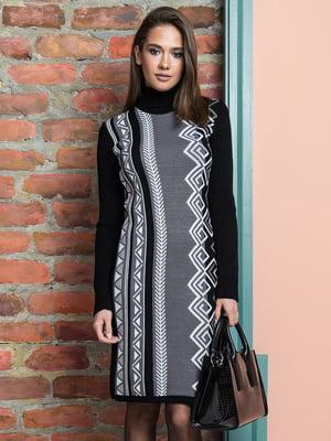 Платье черно-серое в принт | 5204566