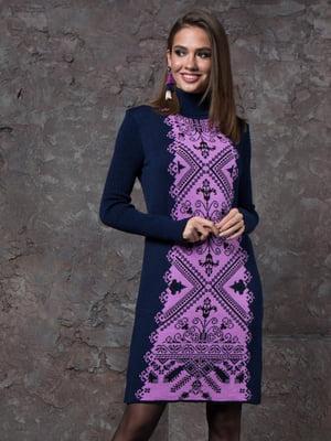 Платье синее с принтом | 5204507