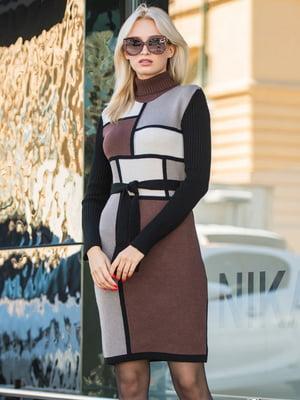Платье коричневое в принт | 5204526