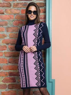 Платье сине-розовое в принт | 5204567