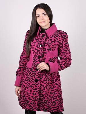 Пальто цвета фуксии в анималистический принт | 5205123